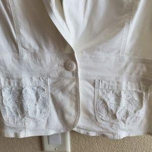 White House Black Market Jackets & Coats - White House Black Market White Cropped Jacket